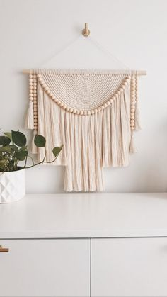 Luna No.004 XL Macramé Wall Hanging with Natural Beads   Etsy Macrame Wall Hanging Diy, Weaving Wall Hanging, Wall Hangings, Bunting, Macrame Design, Macrame Projects, Macrame Patterns, Baskets On Wall, Handmade Home Decor
