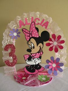 Items similar to Minnie Mouse Personalized Birthday Cake Topper/Centerpiece on Etsy Minnie Mouse Cake Topper, Minnie Mouse Birthday Decorations, Minnie Mouse Theme Party, Mickey Mouse Cupcakes, Baby Mickey, Mickey Mouse Birthday, Mickey Minnie Mouse, 1st Birthday Cake Topper, Birthday Party Centerpieces
