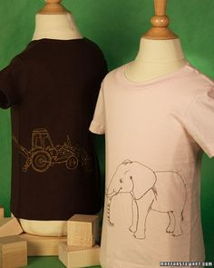 Embellish your favorite T-shirt with an elephant, dragonfly, giraffe, or tractor using our printable templates.