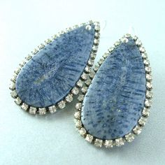 Blue Coral and Rhinstone Trimmed Sterling Silver by SurfAndSand, $42.00