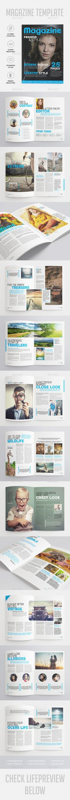 25 Pages Universal Magazine Vol74 by -BeCreative-  Universal Magazine Template: Professional and clean InDesign magazine template. Includes 25 pages for articles, interviews, galle