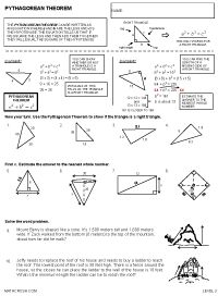 Preview Of Math Worksheet On Introduction To The Pythagorean
