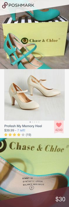 """Chase and Chloe """"Kimmy"""" heel in seafoam Vegan faux-leather pumps with stylish cutouts and adjustable Mary Jane strap perfect for wear-to-work or a night out! Heel measures 3 inches. ModCloth Shoes Heels"""