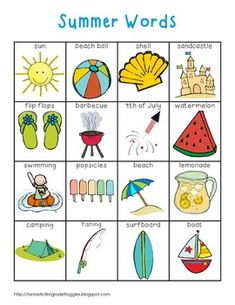 "Writing Center Tools-   Summer Words. A chart of ""Summer words"" may be paired with the postcard writing to help generate ideas about what to write about."