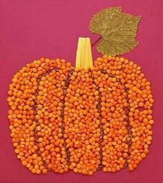 Pumpkin Bean and Seed Craft Autumn Crafts, Fall Crafts For Kids, Thanksgiving Crafts, Toddler Crafts, Preschool Crafts, Diy For Kids, Holiday Crafts, Kids Crafts, Diy And Crafts