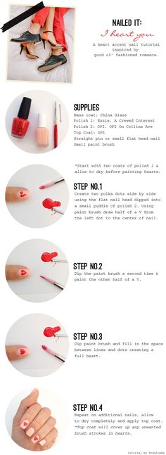 A I Heart You Nail Tutorial, to do during our downtime, so cute!
