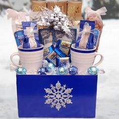 Let It Snow Winter Gift Basket: this would be easy(and cheaper) to make