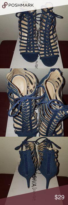Hot womens denim tie up heels. New Hot womens denim tie up heels. New, never worn size 8. Wild Diva Shoes Heels