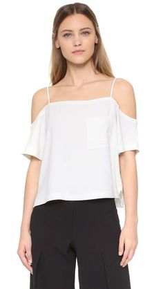T by Alexander Wang Crepe Off the Shoulder Top