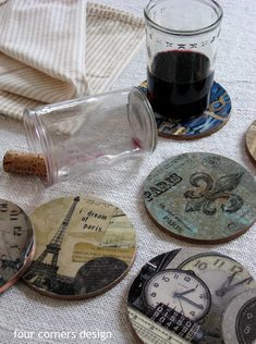 Cork coasters DIY - this one got their cork coasters from Lowe's (used for…
