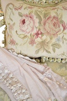 antique needlepoint pillow