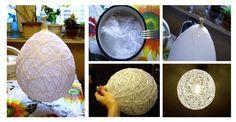 Zrób to sama: Zjawiskowa lampa ze sznurka-Cotton balls #LAMPA #SZNUREK #DIY #ZRÓB TO SAMA #KROK PO KROKU
