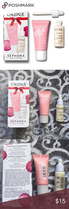 NIB Sephora Caudalie Face Cream Serum Duo Bundle 2 brand new face products from Caudalie. Includes a Vinosource Moisturizing Sorbet that is a gentle, soothing gel cream that hydrates and leaves skin feeling soft and supple. Also includes a Vinoperfect Radiance Serum, which helps to reduce the look of dark spots. Skin appears radiant and brighter, with a more even complexion. Both are brand new, from Sephora. Sephora Makeup