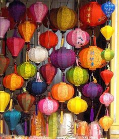 I want one..wall of lanterns