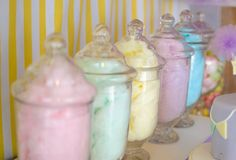 Cotton candy at a Pastel Baby Shower #pastel #babyshowercandy