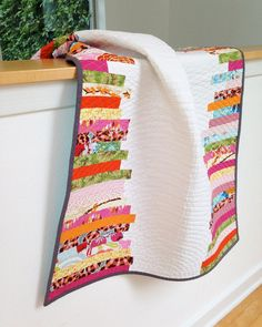 Modern Baby Crib Quilt // Pink, Orange, Green, Yellow, White // Girl // New Baby Gift // Heirloom on Etsy, $200.00