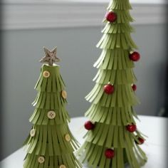 These paper made Christmas trees add whimsy and charm and cost just under $20.