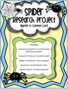 Spider Research Project aligned to Second Grade Common Core