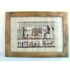 Framed Egyptian Papyrus Burial Vintage Hand Painted Funeral Ancient... ($55) ❤ liked on Polyvore featuring home, home decor, wall art, scroll wall art, trinket bowl, handmade wall art, animal wall art and handmade home decor