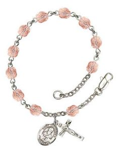 St. Alexander Sauli Silver-Plated Rosary Bracelet with 6mm Pink Fire Polished beads