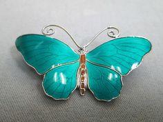 David Anderson Norway Sterling Silver Green Enamel Butterfly Pin #DavidAndersen