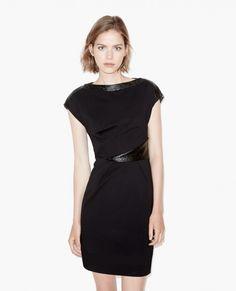 Draped dress with vinyl details
