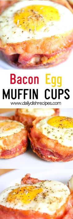 "Bacon Egg Muffin Cups - Filled with all your favorite breakfast items, these little ""muffins"" are amazing and so much fun for big and little kids. Muffin Tin Breakfast, Eggs In Muffin Tin, Healthy Breakfast Muffins, Muffin Tin Recipes, Bacon Breakfast, Breakfast Casserole, Breakfast Recipes, Breakfast Items, Muffin In A Cup"