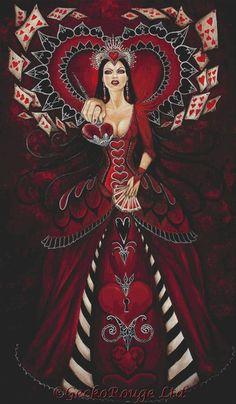 Queen of Hearts/ Alice in Wonderland # dark fantasy Queen Of Hearts Alice, Lizzie Hearts, Queen Of Hearts Tattoo, Alice In Wonderland Series, Adventures In Wonderland, Wonderland Party, Chesire Cat, Alice Madness Returns, Wow Art