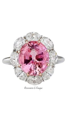 Rosamaria G Frangini | High Pink Jewellery | 5.61 Carats Untreated Padparadscha Sapphire Diamond Gold Ring | From a unique collection 1stdibs.com.