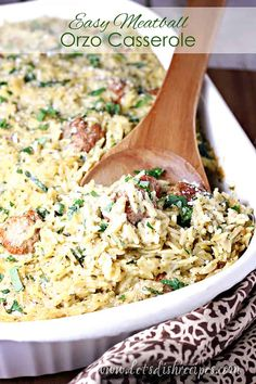 Easy Meatball Orzo Casserole Recipe -- Orzo pasta, frozen meatballs, Alfredo sauce, pesto and spinach combine in this quick and easy casserole that the whole family will love. #orzo #pasta #meatballs #casserole #dinner #recipes Dinner Recipes Easy Quick, Easy Pasta Recipes, Beef Recipes, Easy Dinners, Family Recipes, Recipes Dinner, Delicious Recipes, Easy Casserole Dishes, Spinach Alfredo