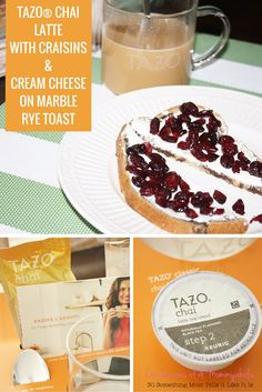 Working from home lunchtime includes Tazo Chai Latte with Craisins and Cream Cheese Marble Rye Toast for a mid-day easy and quick meal option.