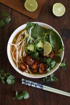 30-minute Vegetarian Pho Soup with hoisin sautéed shiitake mushrooms - quick, easy, healthy, delicious!
