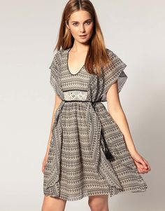French Connection Waterfall Sleeve Dress