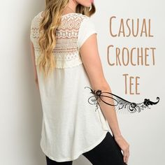 """Ivory short sleeve top w/lace Medium is sold out. Perfect casual tee! Paired great with skinnies, or denim shorts. Ivory color. Short sleeve. Lace upper back. Relaxed fit. Made in USA . 50% polyester 38% cotton 12% rayon. Also available in black. New without tags. 21"""" long in front 28"""" long in back. Small: 18"""" pit to pit. Medium: 19"""" pit to pit. Large: 20"""" pit to pit. . ☀️15% off bundles for new buyers. ☀️25% off bundles for repeat buyers. CupofTea Tops Tees - Short Sleeve"""
