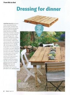 If you find a cool table with a ruined top, make one out of pallets    Dishfunctional Designs: God Save The Pallet! Reclaimed Pallets Revamped