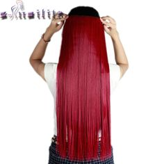 S-noilite Long purple red 66CM Clip in Hair Extensions One Piece Straight Synthetic Hairpiece 3/4 Full Head Hair Extension