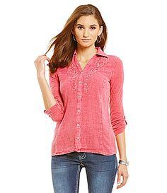 Reba Desert Mirage Sky Embellished Collar Shirt #Dillards