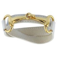 White Leather Horse Bit Bracelet White leather wrap bracelet with gold plated hook closure. Genuine leather. Jewelry Bracelets