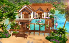 sims 4 houses no cc or packs Sims 4 House Plans, Sims 4 House Building, Sims 4 Houses Layout, House Layouts, Minecraft Beach House, Sims 4 Family, Sims 4 House Design, The Sims 4 Lots, Beach Cottages