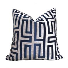 Navy Blue Taupe Greek Key Chenille Texture Pillow placed on the white couch, mixed throughout the other pillows Feather Pillows, Blue Throw Pillows, Velvet Pillows, Sofa Cushions, Accent Pillows, Pillow Design, Fabric Design, Blue Pillow Covers, Taupe