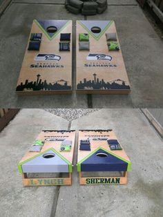Seattle Seahawks Set. Included underneath are bag holders & blue LED lights around the holes for night play.