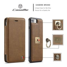 CaseMe Leather Wallet iPhone 7plus Case with Magnetic PC+TPU Back Cover, Detachable Folio,Card Slots, Magnetic Ring Bracket iPhone 7Plus Brown: Amazon.co.uk: Electronics