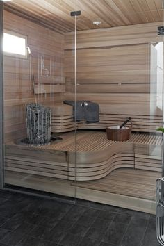 47 Coolest Home Sauna Design Ideas Modern Bathroom Decor, Bathroom Spa, Bathroom Interior, Sauna Steam Room, Sauna Room, Saunas, Jacuzzi, Sauna Seca, Arquitetura