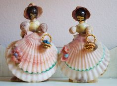Vintage seashell dolls.