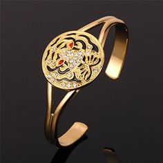 ChokuShop New Fashion Bracelet Bangle Vintage Tiger Head Austrian Rhinestone Cuff Bangles Bracelets 18K Gold Plated Jewelry MGC H262 >>> Check out the image by visiting the link.