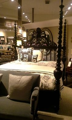 Spindle Black Vendome King Bed. Maitland Smith, King Beds, Home Furnishings, Traditional, Elegant, Luxury, Inspiration, Furniture, Black