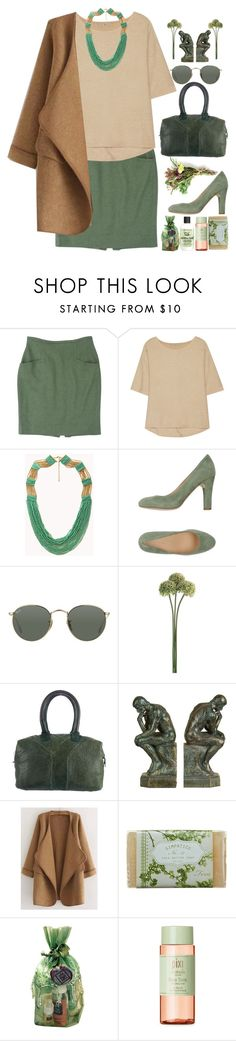 """""""Khaki Cardigan"""" by grozdana-v ❤ liked on Polyvore featuring Rena Lange, Halston Heritage, Forever 21, Carmens, Ray-Ban, Yves Saint Laurent, Benzara, WithChic, K. Hall Designs (Simpatico) and Rosemira"""