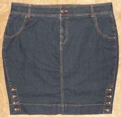 Lane Bryant Womens Blue Jean Denim Skirt Comfort Waist Sz 20 #3930 #LaneBryant #BlueJean