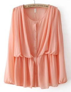 Pink Elastic Long Sleeve Pleated Chiffon Blouse