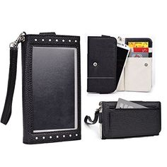 Cooper Cases(TM) Expose Women's Clutch Samsung Galaxy Grand Prime / Prime Duos TV Smartphone Wallet Case in Black / White (Elegant Dual-Tone Leather, Built-in Plastic Screen Shield, Credit Card/ID Slots, Zipper Pocket, Carrying Strap)